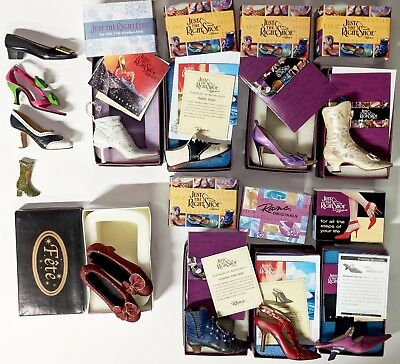 Lot of 8 PLUS Just the Right Shoe Ornaments Plus Bonuses Most New In Box BARGAIN