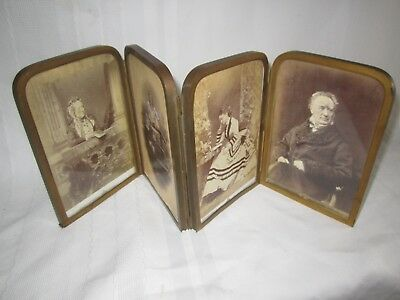Antique unusual Victorian folding brass picture photograph 8 frames 4 each side