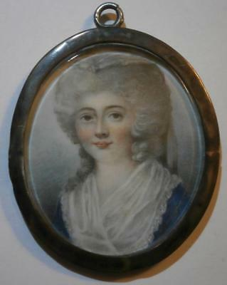 Fine Georgian Portrait Miniature Pretty Young Lady Wearing A White Fichu