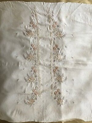"Beautiful French Handmade FLORAL EMBROIDERY ON SILK CREPE 48"" by 24"""