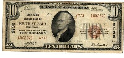 1929 $10 National Bank Note - THE STOCKYARDS South St Paul MN TYPE 2