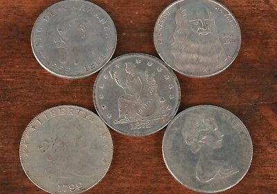 5 China Second-Hand Collection Copper Silver-Plated Commemorative Coins