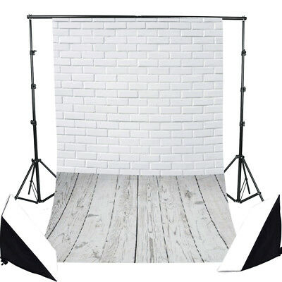 Pure White Brick Wall Floor Photography Backdrop Props Photo Background 3x5ft NY