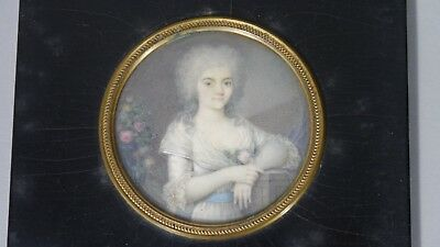 Antique Portrait Miniature Watercolor Painting Picture 18Th Early 19Th Century