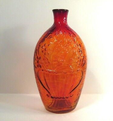 OLDER (80+ Years Old) - Decorative Ruby RED Flask type Bottle - WITH GOLD IN IT