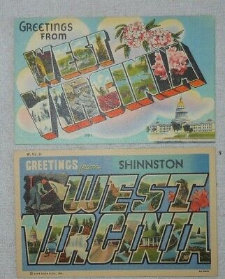 Pair Of Vintage Large Letter Linen Postcards From West Virginia
