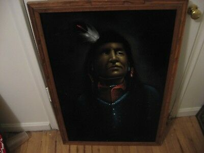 Vintage Black Velvet Painting Indian Chief ~ 27x39 in Wood Frame, Mexico,Signed