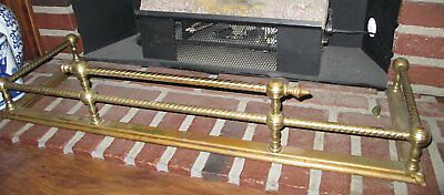 """Brass Fireplace Colonial Federal Style Fender 36"""" Wide 12"""" Deep 7"""" Tall"""