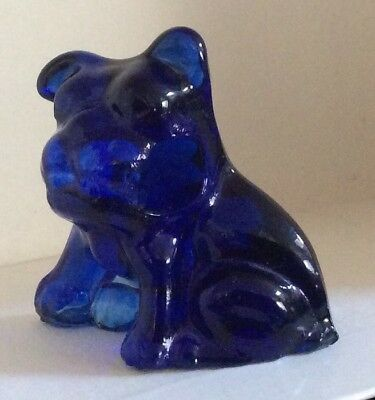 Vintage Cobalt Blue Guernsey Glass Pencil Dog Puppy