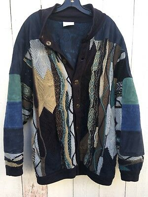 Vintage Coogie Cardigan Knit Suede Sweater Jacket M Blue Green Rare