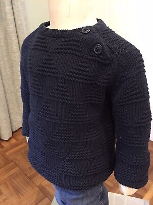 Boys Zara Cable Knit Navy Jumper. Age 2-3 Years, VGC!