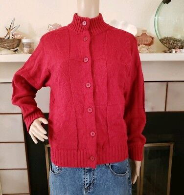 Vintage Rodier Paris Red Wool Blend Knit Cardigan Sweater Size S M Womens