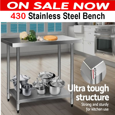 Stainless Steel Bench Table Commercial Work Kitchen Home Prep Food Grade NEW