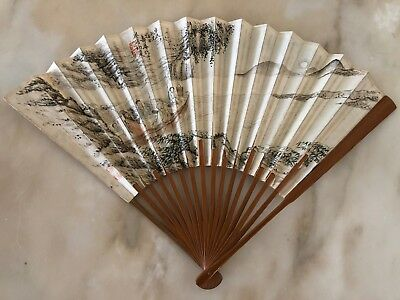 Old Antique Chinese Fan Painting & Calligraphy Signed