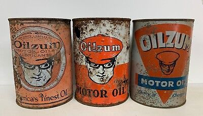 Three (3) Oilzum Motor OIl 1 Qrt. Cans