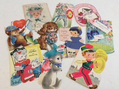 Lot 60 Vintage Used Greeting Cards 1920s to MCM Art Deco Crafts Scrapbooking