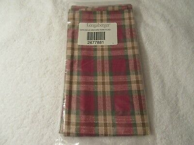 Longaberger Napkins New in Package Set of 2 Orchard Park Plaid 2677881