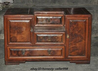 """20""""Ancient China nobility Huanghuali Wood Carved Storage Drawers Cabinet Lockers"""