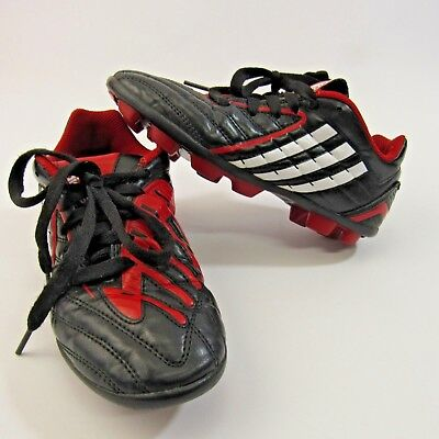 4ed7788a9d5a Adidas Predator Jr Soccer Cleats 2.5 Kids Youth Athletic Spikes Shoes Black  Red