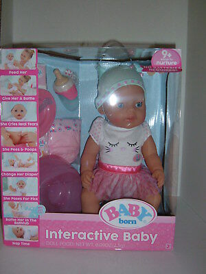 Baby Born Interactive Baby Doll - Blue Eyes  Pink & white outfit w/accessories
