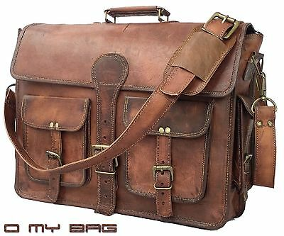 Men's Genuine Vintage Leather Messenger Mack book Shoulder Laptop Bag computer