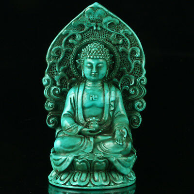 Chinese Turquoise Hand-carved Buddha Statue R4007+a