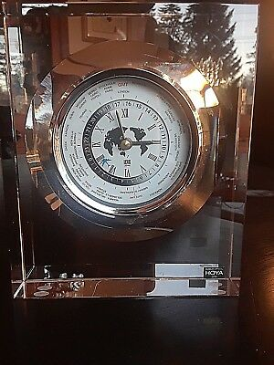 Vintage Hoya Japan Museum Crystal World Time Clock with Airplane - Modern Design
