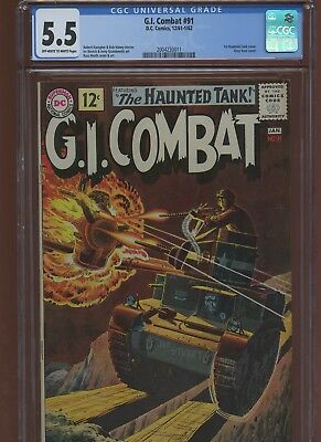 G.I. Combat 91 CGC 5.5 | DC 1962 | 1st Haunted Tank Cover. Grey Tone Cover.