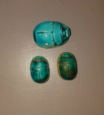 Ancient egyptian scarab collection of three.