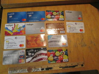 Lot of 14 Fake Collectible Cardboard Credit Card for Teaching Purposes - Used!