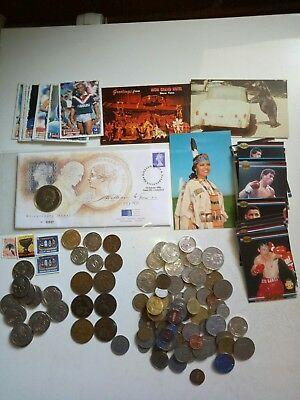 Bulk coins , tokens,  New Zealand silver coins, vintage boxing, NRL cards & more