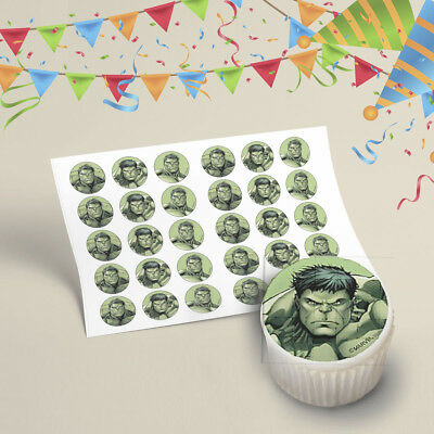 30x Hulk Avengers Cupcake Toppers Edible Icing Printed Image Pre Cut 35mm Marvel
