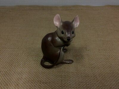 Vintage Ceramic Porcelain Brown Mouse Holding His Tail Figurine