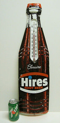 """Vntg 29"""" HIRES ROOT BEER SODA ENAMELED METAL BOTTLE ADVERTISING THERMOMETER SIGN"""