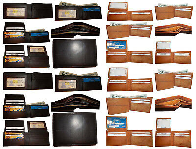 WHOLESALE LOT of 5 Genuine Mixed Leather wallet card bifold trifold checkbook NR