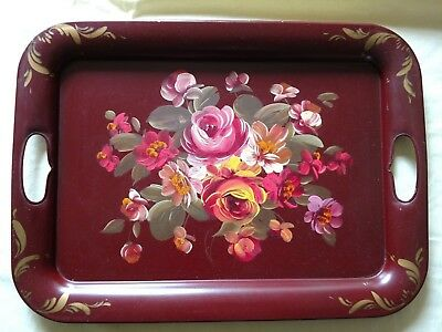 Beautiful Vintage Fine Arts Studio Red Floral Roses Tin Tray Hand Painted
