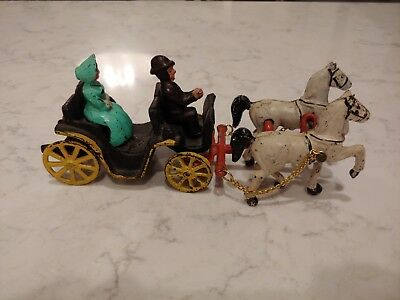 Vintage Cast Iron Toy~2 White Horses & Buggy Carriage Wagon & Driver & Rider