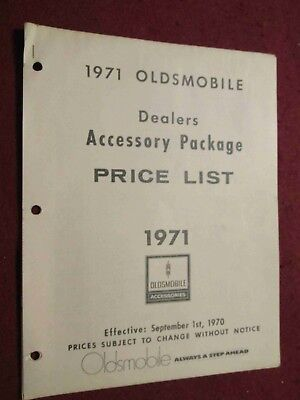 1971 Oldsmobile Accessories Price List; Non-Illustrated but GREAT Research Item