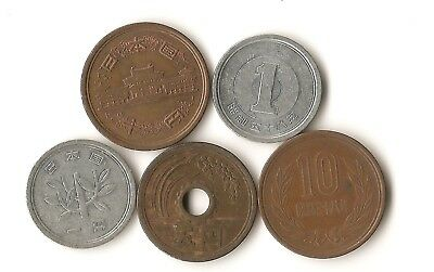 Lot of 5 Japan coins, 1, 5, and 10 yen, rice plant, Hoodo temple
