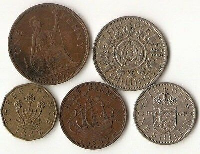 Lot of 5 Great Britain coins, 1/2, 1, and 3 pence, 1 and 2 shilling, 1937 - 1963