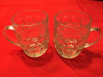 """Set Of 2 RAVENHEAD Made In England Dimpled Clear Glass Pint Beer Mug 5"""""""