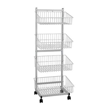 4 wire baskets, single sided stand on castors