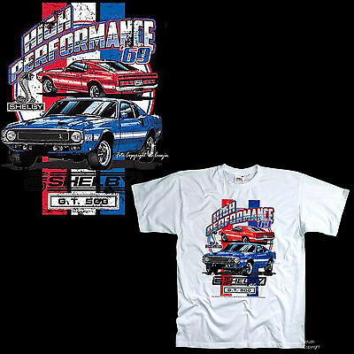 Ford avec Licence 60s Cobra Mustang Gt 500 1969 Er Muscle Voiture Shelby T-Shirt