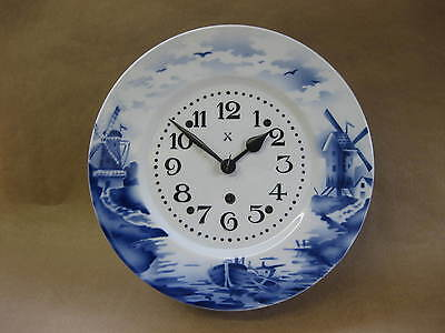 Vintage / Antique Delft Blue Wall Clock ~ Clockwork ~ Dutch Style Scenes