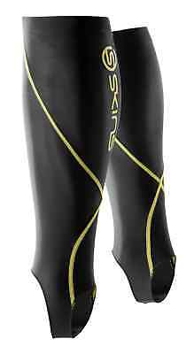 Skins Essentials unisex calf tights with Stirrup Size L black/yellow RRP $49.99