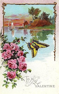 Early 1900's Elegantly Embossed Historic Vintage Antique Topical Post Card #25