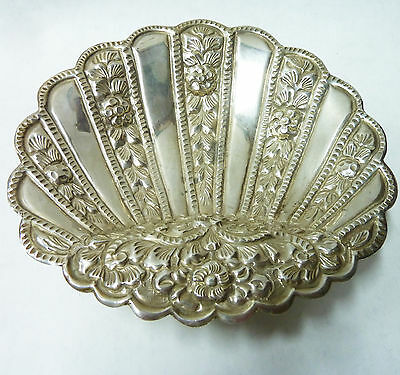 Old Vintage Continental Hallmarked Solid Silver Rare Scallop Shell Dish - 114g