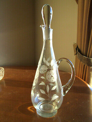"Vintage Handled Glass Beverage Decanter Engraved Roses 15 1/2"" 48 oz."