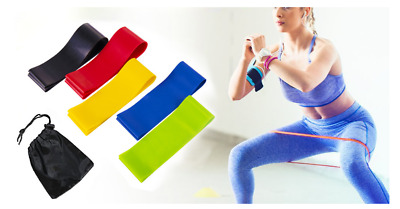 Resistance Bands Loop Set Exercise Sports Fitness Home Gym Yoga Latex Set of *5.