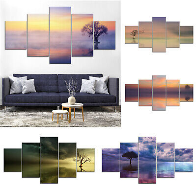 Lonely Tree Mirror Lake Canvas Print Painting Home Decor Wall Art Poster 5Pcs